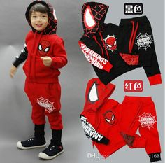 2pcs kids baby boy Spider-man tops+pants Outfits/&set boy Spring Casual clothes