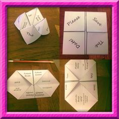 I may or may not have just made a cootie catcher save the date.... : )