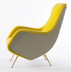 Lounge Armchair in yellow velvet and gray leather , c1950 | armchair . Sessel . fauteuil | Design: Aldo Morbelli | I.S.A. Italy |