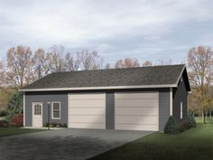 Ideal for mechanics, woodworkers and tinkerers, this two-car garage with workshop will complement almost any residence.