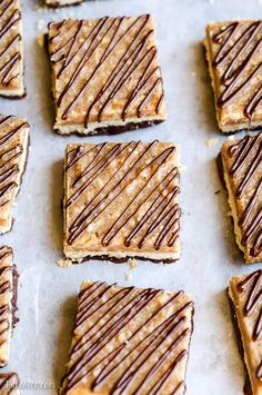 These Samoa Bars have a shortbread crust, toasted coconut caramel & a dark chocolate drizzle! They're gluten-free, Paleo + vegan. Gluten Free Sweets, Paleo Dessert, Healthy Sweets, Gluten Free Baking, Vegan Baking, Dairy Free Recipes, Vegan Desserts, Delicious Desserts, Dessert Recipes