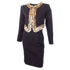 80's Yves Saint Laurent Suit with Gold Sequins 29th Century Couture  $1,898