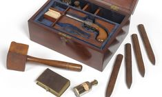 Ye Olde Vampire Slaying Kit: Victorian Oak Box Complete With Wooden Stakes…