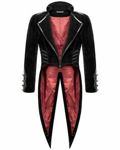 Punk Rave Bloodrayne Mens Tailcoat - Black Velvet Gothic Steampunk Vampire Swallowtail Jacket With Faux Leather Trim And Red Lining Gothic Jackets Mens, Costume Vampire, Black Velvet Suit, Punk Rave, Tuxedo For Men, Cosplay, Gothic Steampunk, Military Fashion, Fashion Vest