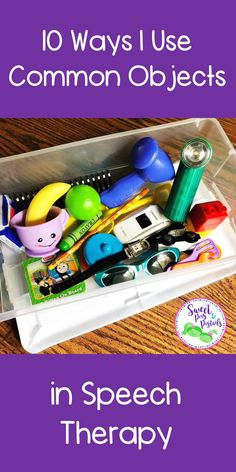 10 ways I use common objects in speech therapy. I love that I can use a box of random objects to target a variety of goals with my students! Preschool Speech Therapy, Speech Therapy Activities, Speech Language Pathology, Speech And Language, Preschool Activities, Articulation Activities, Communication Activities, Shape Activities, Communication And Language Eyfs