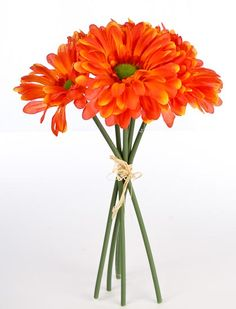Artificial Silk Tropical Orange Gerbera Daisy Bundle