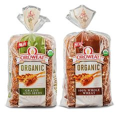 Oroweat Organic Bread in whole wheat and grains and seeds