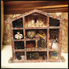Wooden Configuration Box, Steam Punk, Journey, engraver Style, mixed media