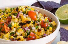 Charred corn adds a distinct flavor to our grilled corn salsa. Fresh veggies and crispy sweet corn are a lighter alternative to ordinary salsa.