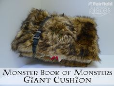 Pieces by Polly: DIY Monster Book of Monsters - Giant Cushion - from Harry Potter and the Prisoner of Azkaban - No-Sew project  with Golden Wolf Faux Fur Gold Brown - fun for back to school! http://www.shannonfabrics.com/faux-fur/specialty/golden-wolf-fur-gold-brown @PiecesByPolly  @fairfieldworld