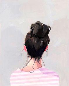 hair art bun print Top Knot 13 giclee print