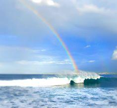 rainbow at Praia do Almoxarife, Faial, Azores #rainbow #ocean #azores #waves #almoxarife #traveldifferent