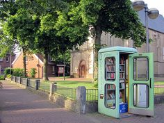 Defunct phone booth turned communal book swap - love it! #literary #books #repurposed