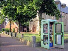 Defunct phone booth turned communal book swap - love it! #literary #books #repurposed