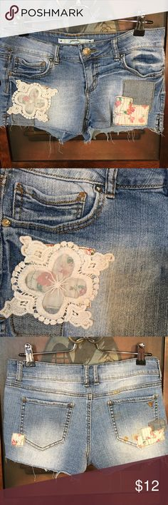 GRANE Jean Shorts Light Distressed Patches Size 7 Denim Lace and Patch work. Size 7 by GRANE Grane Shorts Jean Shorts