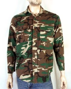 f7164d0beaf63 vtg 70s 80s Cabelas Soft Chamois Flannel Camo Camouflage Shirt Hunting hip  hop M Hunting Gear