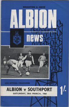 Vintage Football Programme - Brighton & Hove Albion v Southport, 1967/68 season, by DakotabooVintage, £3.99