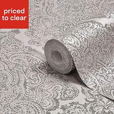 Graham & Brown Fibrous Windsor Lilac & Pewter Damask Metallic Wallpaper - B&Q for all your home and garden supplies and advice on all the latest DIY trends Mink Wallpaper, Brown Wallpaper, Metallic Wallpaper, Damask Wallpaper, Wallpaper Decor, Damask Decor, Fabric Decor, Fabric Art, Damask Party