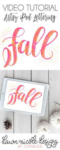 Artsy Fall Lettering Procreate Video Tutorial. A step-by-step video lesson on how to create painted style lettering on your iPad Pro.