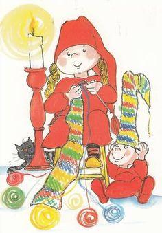 Virpi Pekkala Christmas Clipart, Vintage Christmas Cards, Christmas Illustration, Cute Illustration, Pictures To Paint, Cute Pictures, Baumgarten, Envelope Art, Winter Art