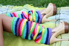 Rainbow Leg Warmers Over-the-Knee by mademoisellemermaid on Etsy