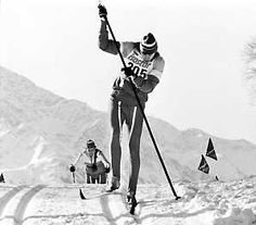 Gunde Svan, olympic gold medalist cross-country skiing, sports eccentric always taking his own route. Here innovating skiing with one pole only.