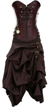 French puce steampunk dress. Wow. It would look beautiful with a sheer blouse underneath!
