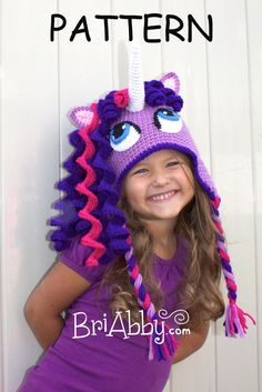 Crochet Unicorn / Pony Hat with Earflaps by BriAbbyHMA on Etsy