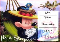 INVITATIONS FOR SLEEPOVER PARTY: MICKEY MOUSE SLUMBER PARTY INVITATION FOR BOYS AND GIRLS