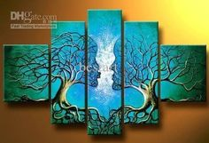 Wholesale hand-painted dream Blue lovers trees landscape oil-paintings on canvas /set mixorde Framed, Free shipping, $47.75-54.54/Set   DHgate