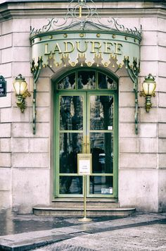"Paris Photography - laduree shop door winter paris wall decor 8x10 11x14 5x7 champs elysees neutral green travel wall art sweet ""Perfection"" by LynnLangmade on Etsy https://www.etsy.com/listing/219998287/paris-photography-laduree-shop-door"