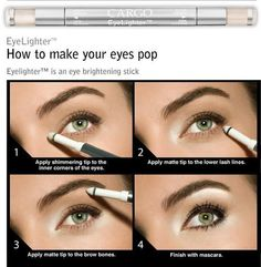 brighten up your eyes... if you do not have the stick... simply use your frost white eye shadow on the same areas... that is how I do it! ;)