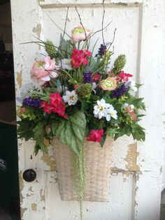 Large summer wreath for door spring wall basket by FlowerPowerOhio, $124.99