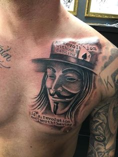 V for Vendetta tattoo by Greg at Holy Trinity Tattoos Drake Tattoos, Tatoos, V Tattoo, Tattoo Quotes, V For Vendetta Tattoo, Meaningful Tattoos For Men, Guy Fawkes, Girl Pictures, Tattoos For Guys