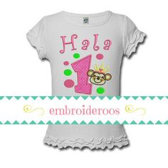PROCESSING Approx. 2-weeks (10-business days) Shipping takes another 2-3 days to arrive. DESIGN Professionally embroidered - Includes your childs NAME and AGE! You can make changes to thread color, font type and appliqué fabric - Include all details in the comments of your order. SHIPPING UPGRADE $12 completes your order within 5-business days $15 completes your order in 2-business days  SIZING Go by your child's current shirt or onesie size. If unsure, either message me or see my listing…