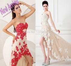 Find More Prom Dresses Information about 2015 Hot Custom Made Astonishing Elegant Sweetheart Hi Lo Prom Dresses Appliques Chiffon Sexy Evening Dress Party Gown For Women,High Quality gown party,China gown party dress Suppliers, Cheap dress islam from beautiful dream house on Aliexpress.com