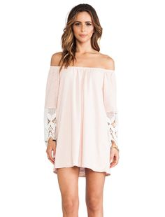 VAVA by Joy Han Caitlyn Off Shoulder Dress in Peach