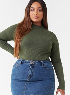 Plus size ribbed mock neck top plus size fashion the best service for curvy girls womensfashion earlier plus size women used to find it difficult to shop and find any woman plus size fashion Curvy Girl Outfits, Cute Casual Outfits, Plus Size Outfits, Plus Size Skirts, Plus Size Fashion For Women, Plus Size Women, Different Types Of Dresses, Chubby Fashion, Tokyo Street Fashion