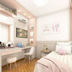 DECORAÇÃO QUARTO (PEQUENO FEMININO) - Luiza Gomes Room Design Bedroom, Bedroom Layouts, Small Room Bedroom, Room Ideas Bedroom, Bedroom Decor, Small Rooms, Bedroom Furniture, Bedroom Simple, Bedroom Designs