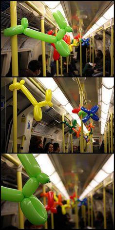 Balloon Art Underground, The Tube, Northern Line, London, UK