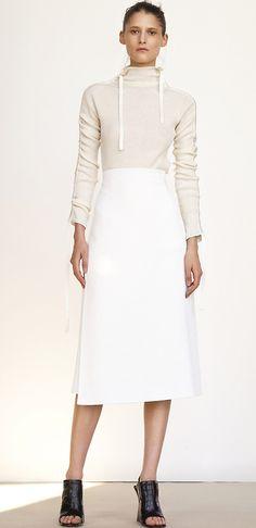 Trendy fashion style: Cream-white high-waist skirt | Céline spring summer 2015.