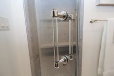Gray tiled shower with glass shower door and clear handle. Gray Shower Tile, Glass Shower Doors, Door Handles, Shower Doors, Custom Door, Grey Tiles, Glass