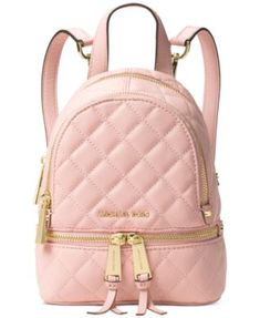 "Top-of-the-class style abounds with Michael Michael Kors' chic quilted leather messenger backpack. | Leather; lining: polyester | Imported | Mini sized bag; 6-3/4""W x 7-1/2""H x 3-1/2""D 
