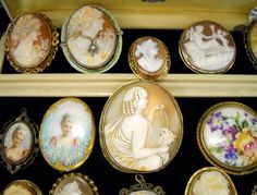 All cameos from the Victorian and Deco period  Bordwalk Empire cameo (top 2nd from the left)
