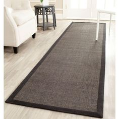 Natural Fiber Charcoal (Grey) 2 ft. x 14 ft. Runner Rug