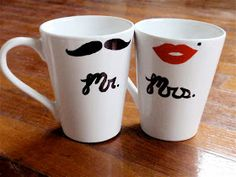 Mr. & Mrs. coffee mugs. Sharpie, bake at 350 for 30 mins