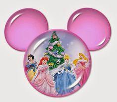 Princesas Disney para Navidad dentro de la Silueta de Mickey. 5 diferentes.