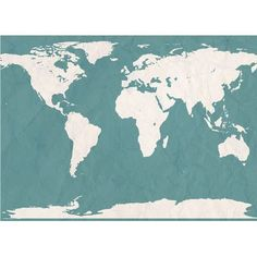 """Swag Paper World Atlas Map Wall Mural Color: Teal, Size: 101.16"""" H x 132"""" W"""