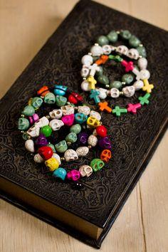 Día de los Muertos Skull and Cross Bracelets. #earthboundtrading