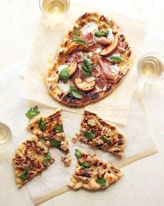 Grilled-Peach Pizzas with Prosciutto Recipe -- This dish reminds us just how great peaches can be in savory dishes!